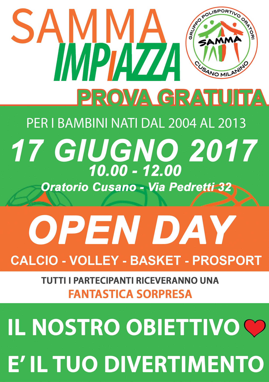 17 Giugno 2017 – Open Day … ti aspettiamo dalle 10 alle 12 in Oratorio di Cusano
